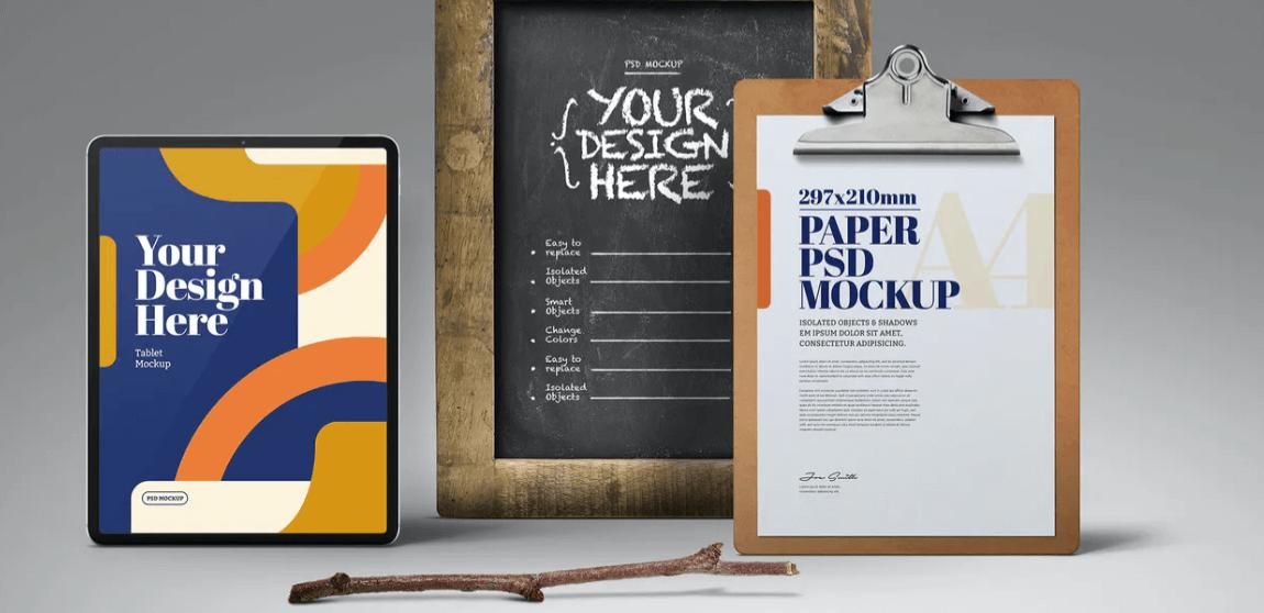 Tablet, Chalkboard & Clipboard Mockup