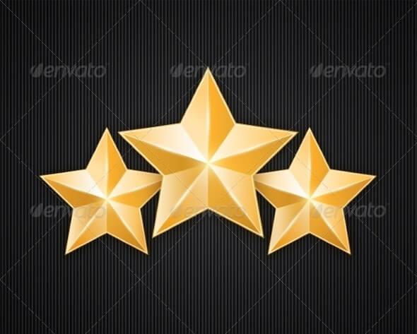Three golden star on black textured background (1)