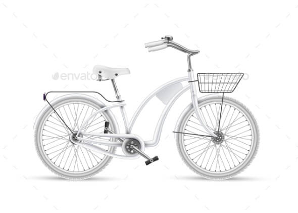 Vector White Bicycle Realistic Isolated Mockup (1)