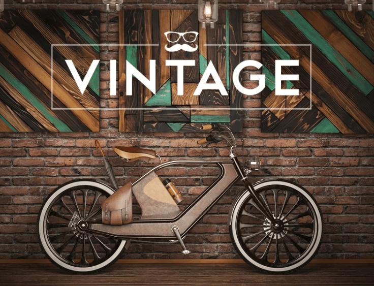 Vintage bicycle in loft style Mockup
