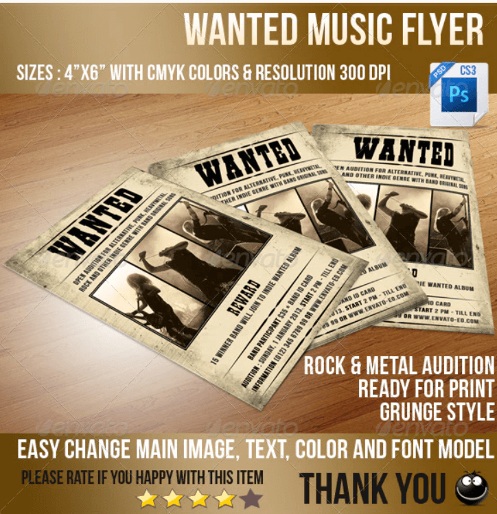 Wanted Music Flyer