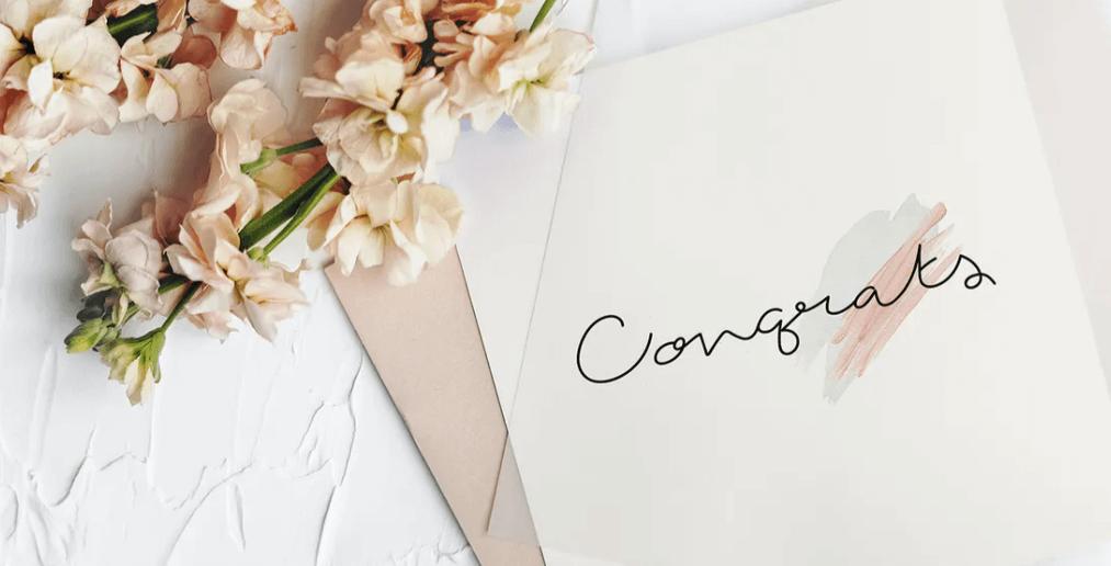 Wedding invitation card mockup with flower