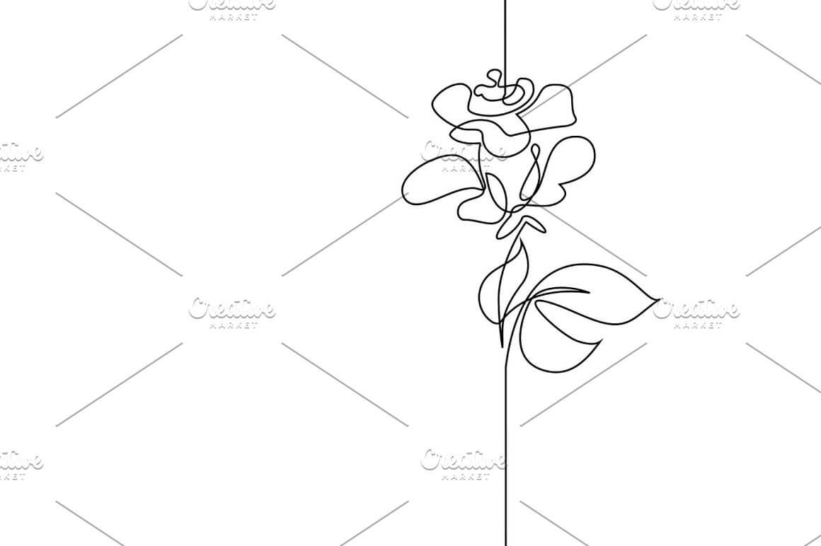 continuous line drawing flower Rose Drawings