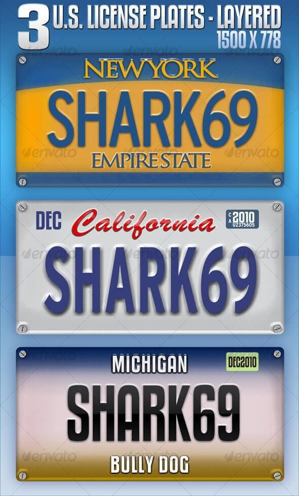 3 U.S. License Plates - Layered (1)