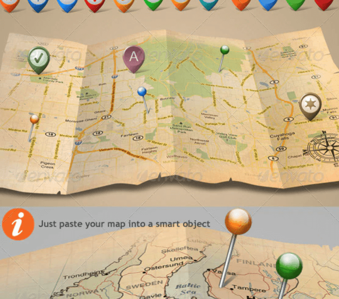 3d Old Parchment Map Mock Up Template