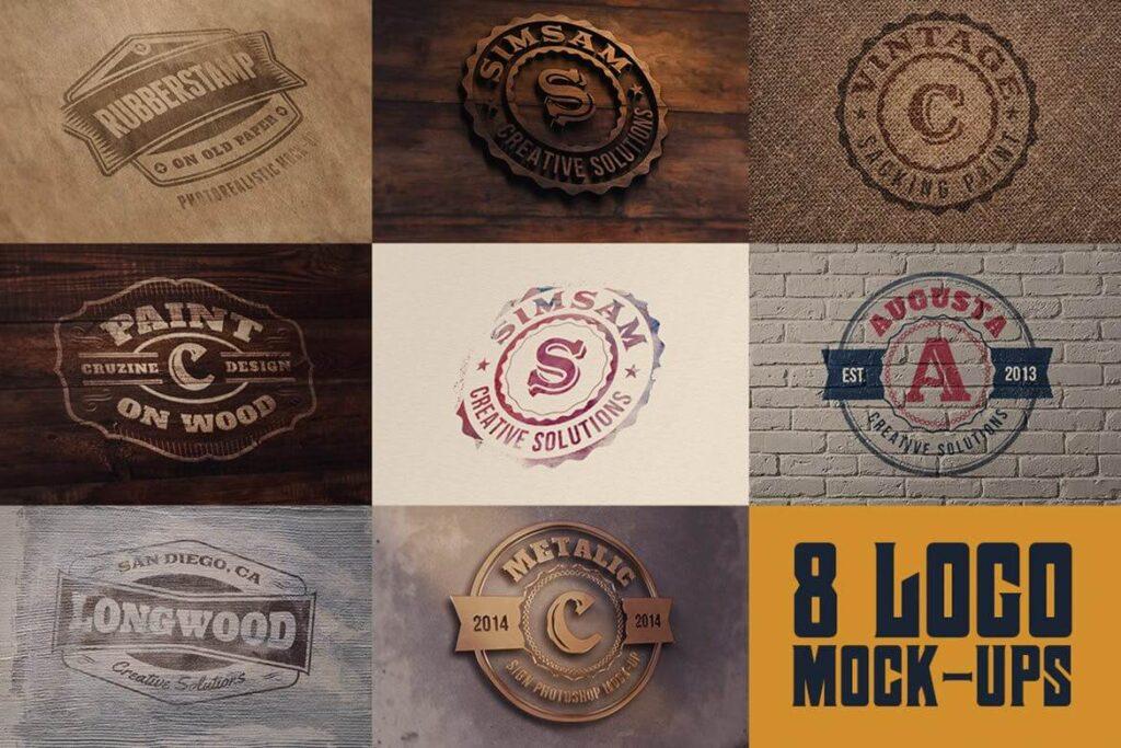 8 Realistic Logo or Text Mock-ups (1)