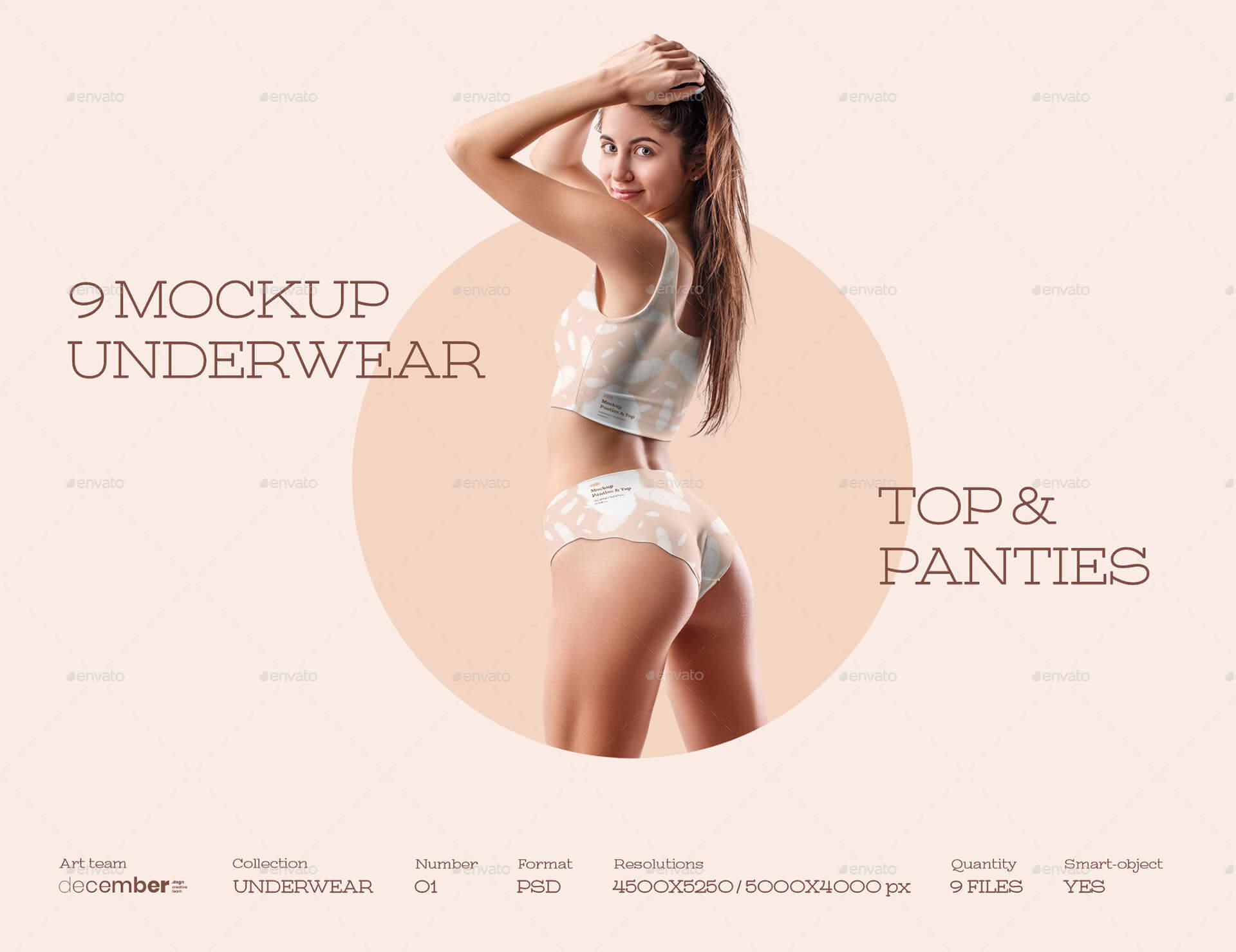 9 Mockups Woman Underwear. Top and Panties (1)