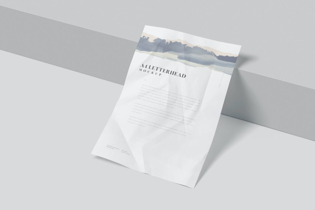 A4 Wrinkle Paper Mockups