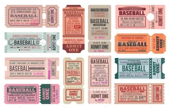 Baseball Sport Game Retro Tickets Vector Templates (1)