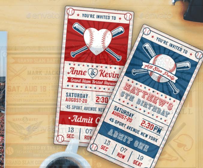 Baseball Ticket Party Invites 3