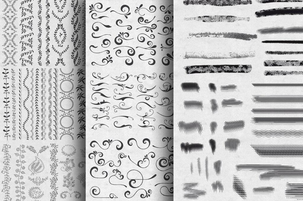 Border, swirls, and brushes set (1)