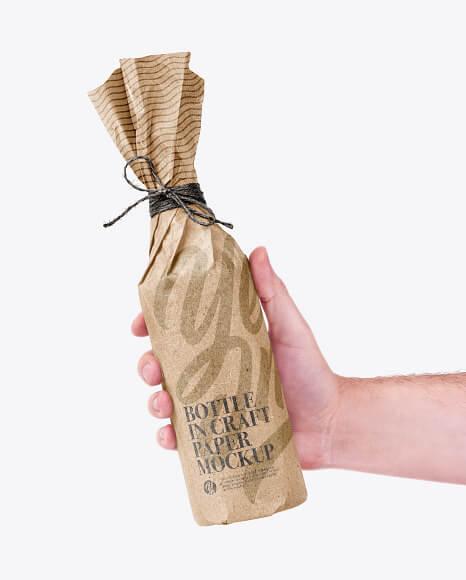 Bottle In Craft Paper Mockup (1)