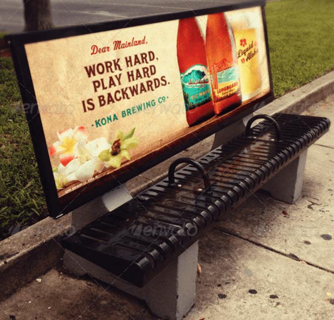 Bus Stop Bench Advertisement Mockup Templates