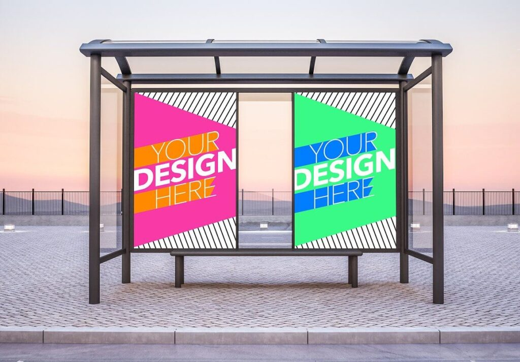 Bus Stop with 2 Posters Mockup (1)