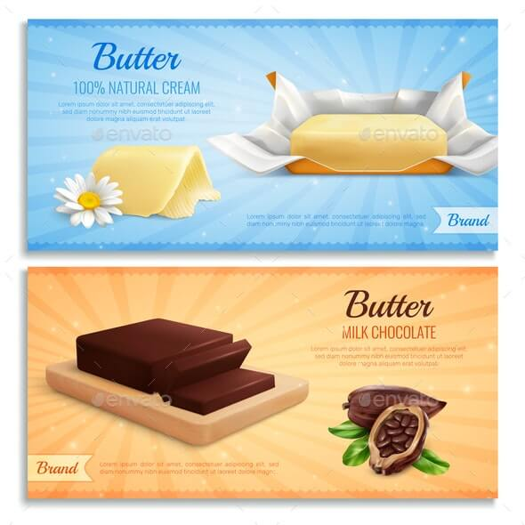 Butter Advertising Realistic Banners (1)