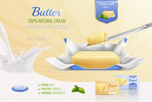 Butter Realistic Advertising Composition (1)