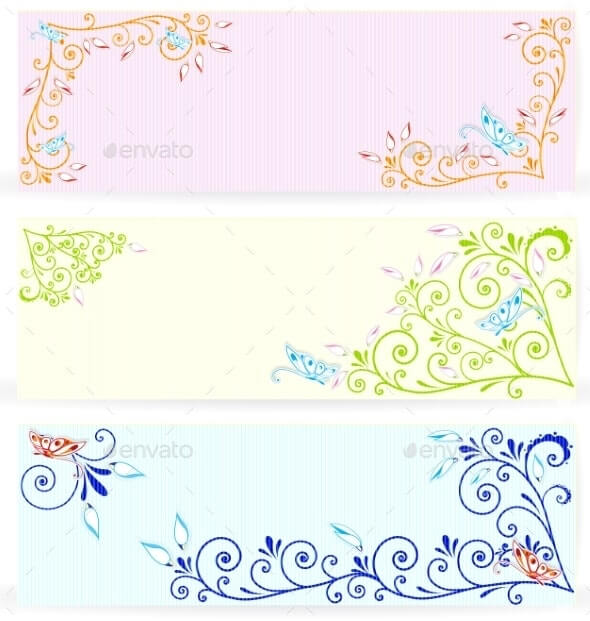 Butterfly on Swirl Texture Banners Vector (1)