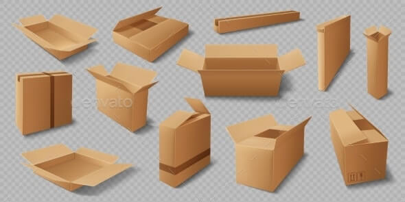 Cardboard Box Realistic Mockups, Delivery Packages (1)