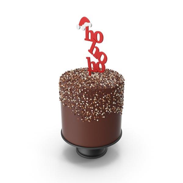 Christmas Cake with Hohoho and Santas Hat Topper