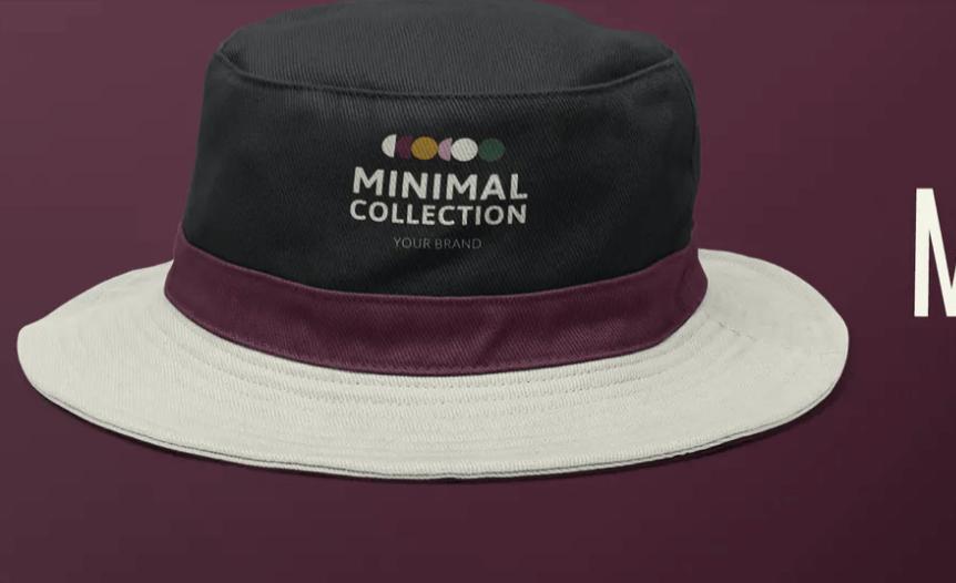 Editable bucket hat mockup psd apparel ad