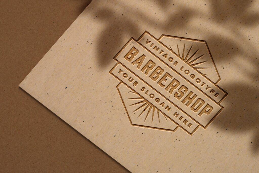 Embossed logo mockup on craft paper (1)