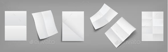 Folded White Posters, Blank Paper Sheets (1)