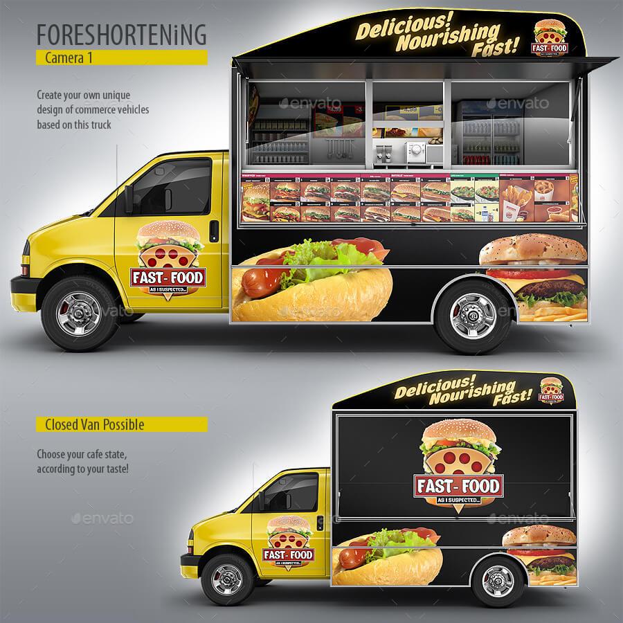 Food Truck Mock-Up. Van eatery mockup (1)