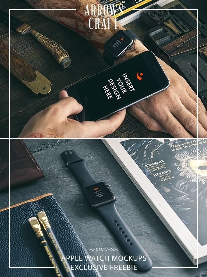 Free 2+ Hip Apple Watch Mockups PSD Template (1)