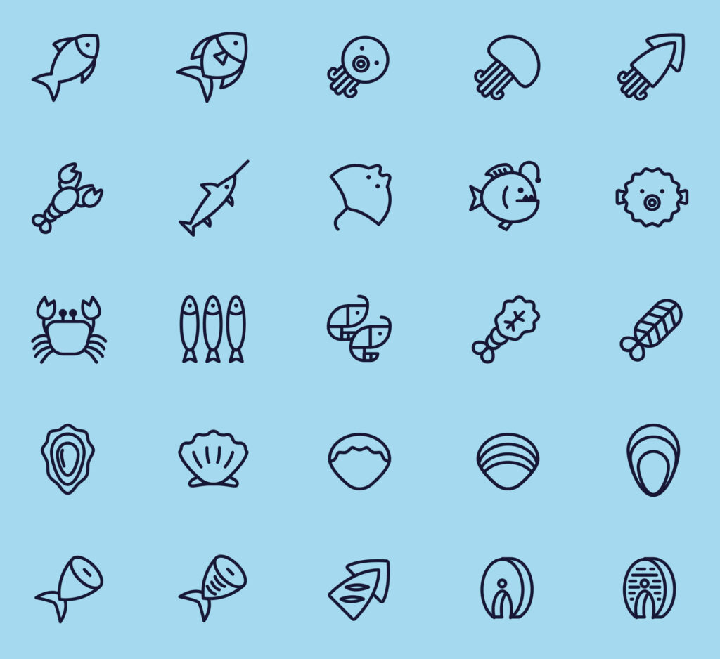 Free 25+ Line Seafood Vector Icons (1)