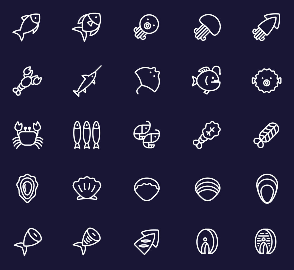 Free 25+ Line Seafood Vector Icons1 (1)