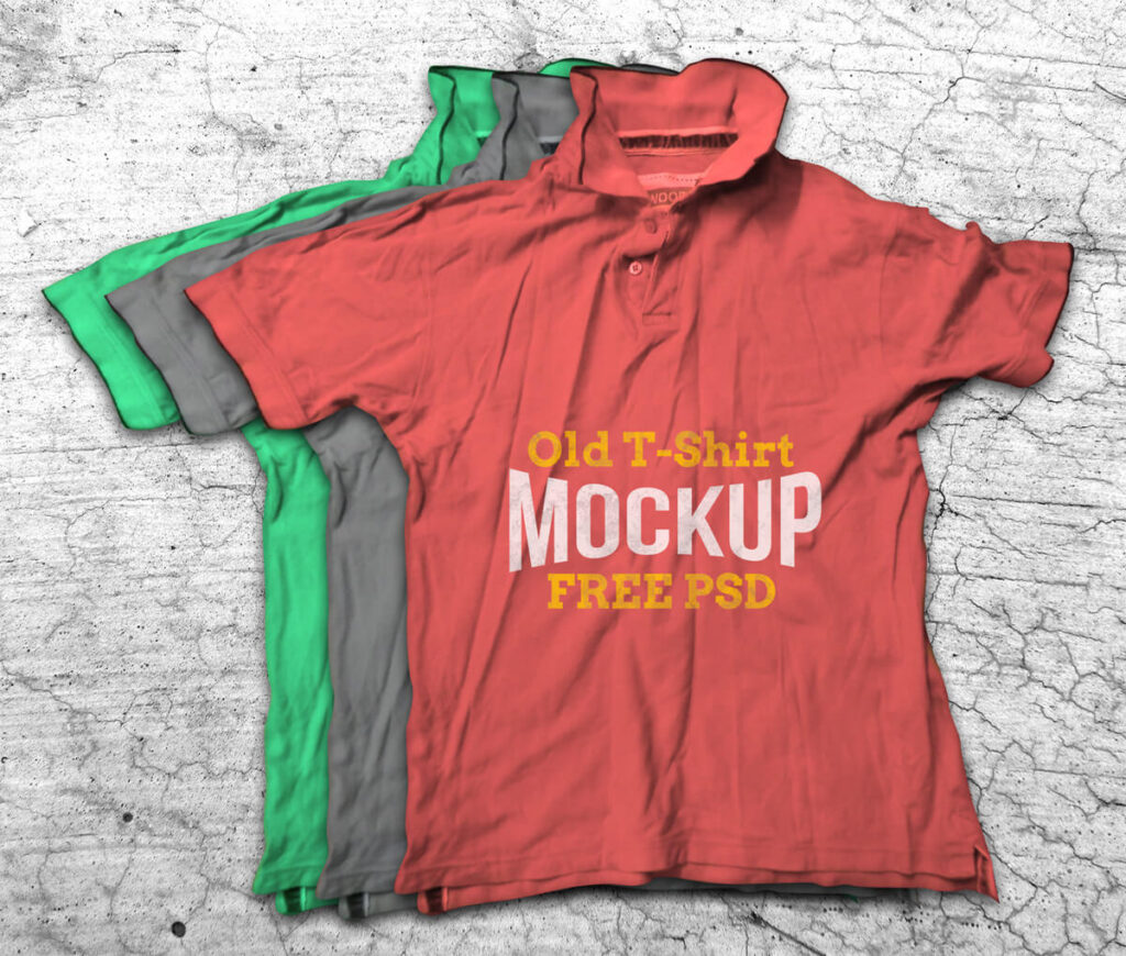 Free Old Crumpled T-Shirt Mockup PSD Template1 (1)