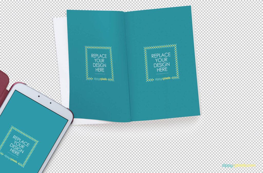 Free Open Book Mockup Scene PSD Template1 (1)
