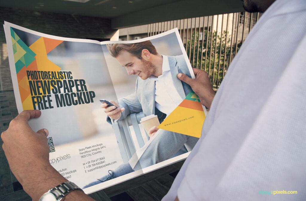 Free Real Newspaper Ad Design Mockup PSD Template (1)