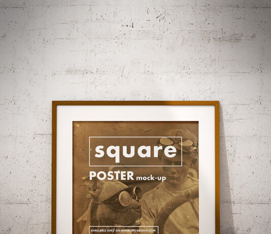 Free Square Poster Mockup PSD Template (1)