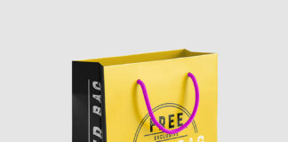 Free Yellow Paper Bag Mockup PSD Template (1)