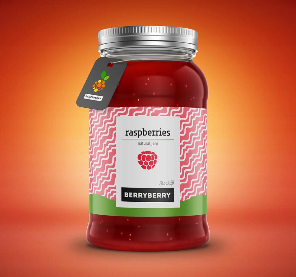 Free Yummy Raspberry Mason Jar Mockup PSD Template (1)