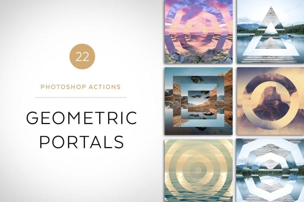 Geometric Portals Photoshop Actions (1)