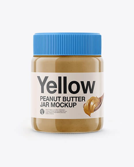 Glass Jar with Peanut Butter Mockup (1)