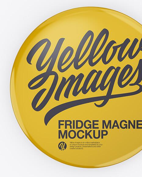 Glossy Round Fridge Magnet Mockup - Front & Back Views (1)