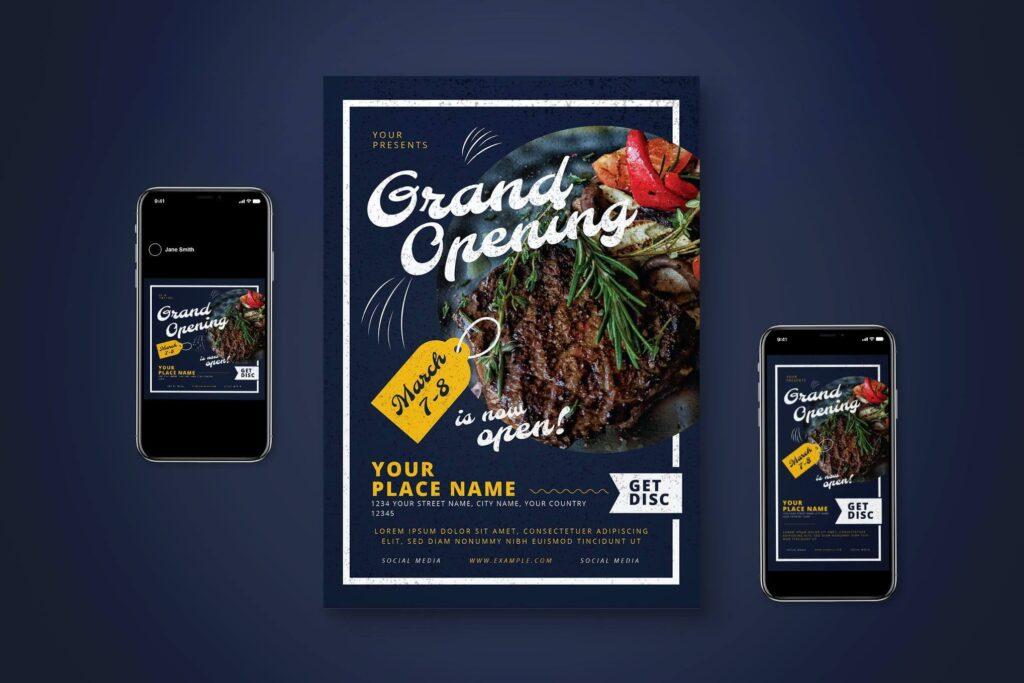 Grand Opening Restaurant Flyer Set (1)