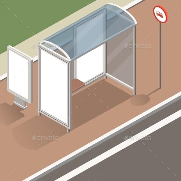 Isometric Bus Stop Mockup (1)