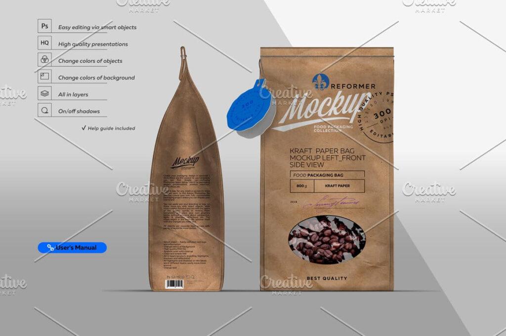 Kraft Paper Bag Mockup Left & Front (1)