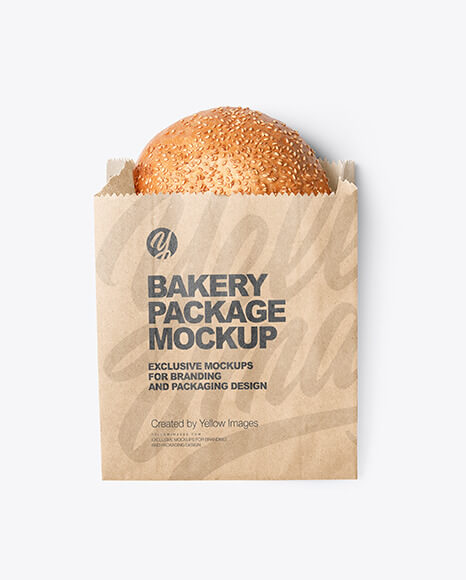 Kraft Paper Bag with Burger Bun Mockup (1)