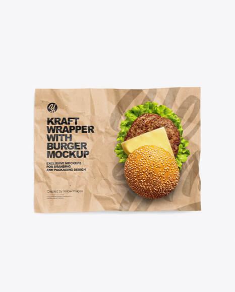 Kraft Wrapper With Burger Mockup (1)