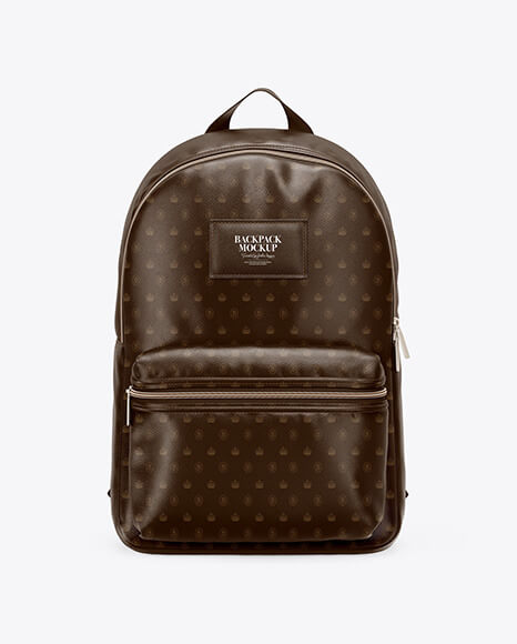 Leather Backpack Mockup - Front View (1)