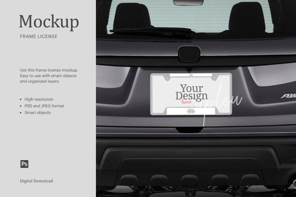 License Plate Frame Rear Car Mock Up (1)