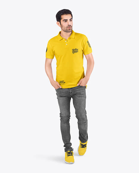 Man in a Polo T-Shirt and Jeans Mockup (1)