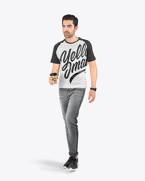 Man in a Raglan T-Shirt and Jeans Mockup (1)