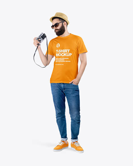 Man in a T-Shirt and Jeans Mockup (1)