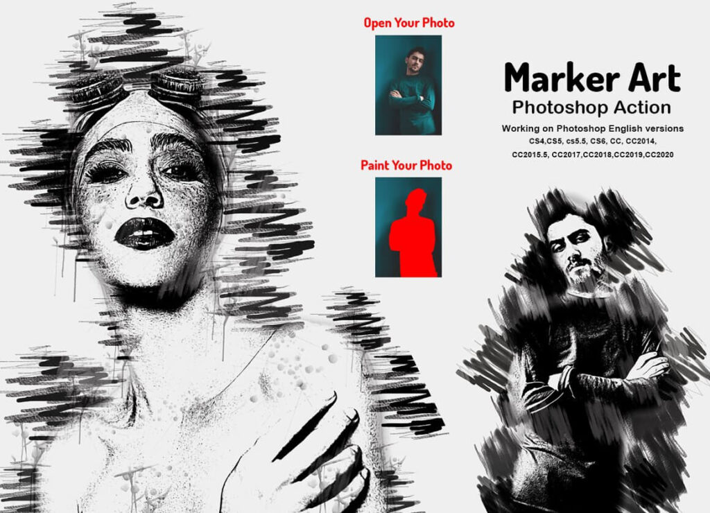 Marker Art Photoshop Action (1)
